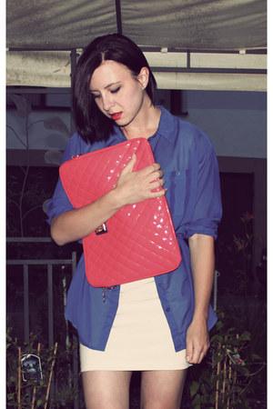 off white H&M shirt - red Bershka bag - blue H&M blouse - dark brown leopard pri