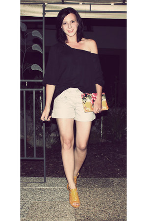 light orange DIY bag - silver H&M shorts - black noname blouse - yellow Zara hee