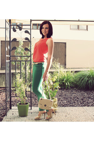 green New Yorker jeans - beige Tally Weijl bag - beige Deichmann heels - red Ver