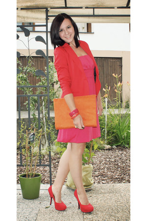 hot pink noname dress - red Bershka blazer - carrot orange clutch DIY bag - red
