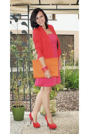 hot pink noname dress - red Bershka blazer - carrot orange clutch DIY bag - red