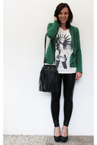 Zara blazer - leather noname leggings - noname shirt - H&M bag - H&M pumps