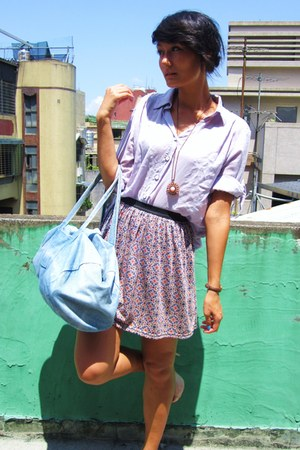 light purple floral skirt - light purple shirt - light blue denim Primark bag