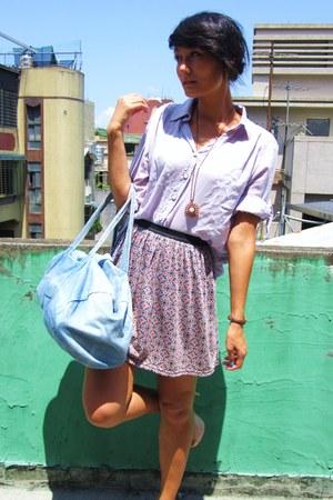 light purple floral skirt - light purple shirt - light blue denim Primark bag