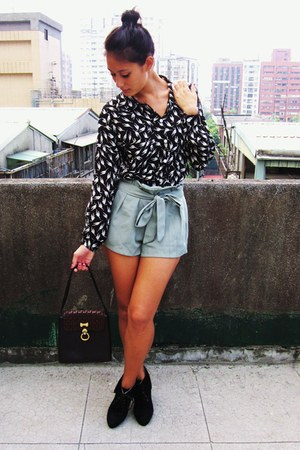 black cat print blouse - dark brown thrifted bag - pale green shorts