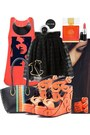 Black-bag-gold-bracelet-orange-wedges-carrot-orange-top-black-necklace