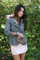 army green Pimkie jacket - light pink Zara skirt