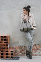 neutral H&M blazer - dark khaki Gucci bag - olive green Zara pants