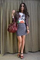 heather gray Naf Naf skirt - ruby red Rinascimento blazer