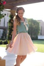tie -neck blouse - pale pink tulle skirt