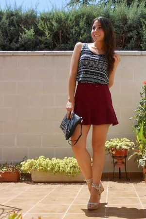 H&M skirt - Mulaya bag - Marypaz wedges - H&M t-shirt