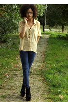 black Ebay wedges - navy Jeans jeans - light yellow seethrough Primark blouse