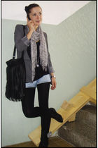 gray F&F jacket - gray scarf - gray accessories - black H&M accessories