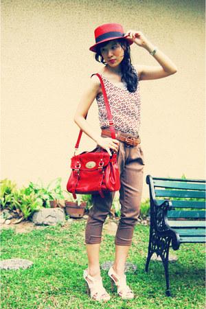 satchel EGG bag - trousers Hip Stop pants - nude heels Possibility heels - top p