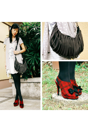 chain bag bag - red shoes shoes - Marks and Spencer tights - layering top
