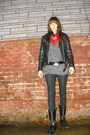 Red-vintage-scarf-black-vintage-jacket-gray-xhilaration-shirt-black-americ