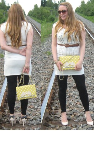 yellow bag - white dress - gold necklace - gold bracelet