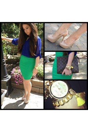 gold craft chic boutique bracelet - dark brown Louis Vuitton bag - green skirt