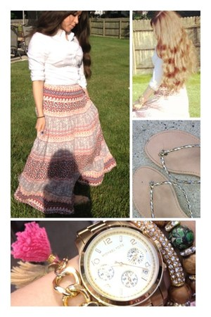gold mk watch watch - shirt - gold flipflop sandals - boho skirt skirt