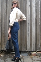 faberge jeans - Carla Zampatti blouse - Primark boots - longchamp accessories - 