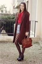 vintage bag - vintage coat - American Apparel shirt - vintage shorts