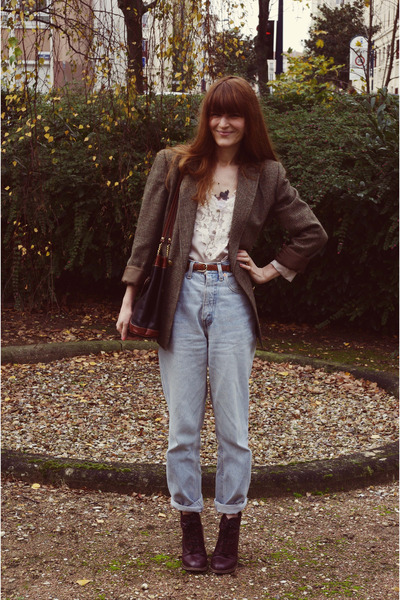 thrifted jeans - Topshop boots - thrifted blazer - H&M Trend blouse