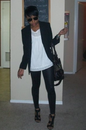 black shoes - black leggings - white shirt - black blazer
