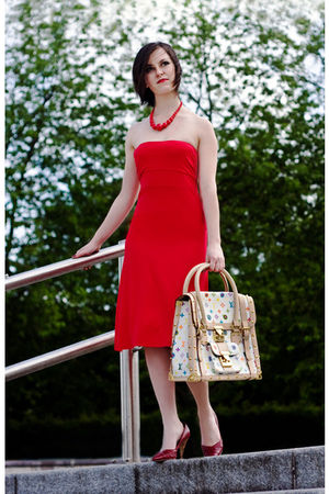 red Online Shop dress - red Online Shop shoes - Louis Vuitton accessories