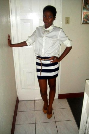 white button up Forever 21 blouse - navy bodycon Forever 21 skirt