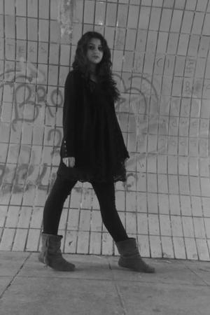 Primark cardigan - Topshop dress - Dorothy Perkins boots
