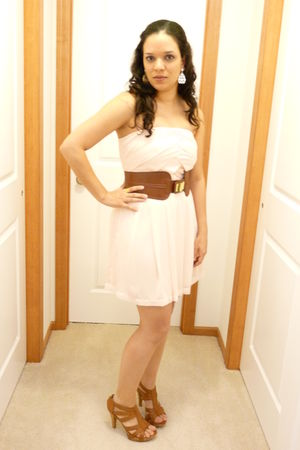 pink Express dress - orange Forever21 belt - orange Chinese Laundry shoes - whit