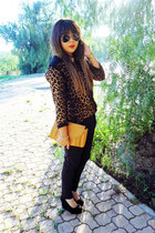 gold leopard print blouse - black suede wedges