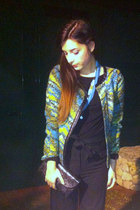 black vintage bag - turquoise blue Zara Basics jacket - black H&M pants