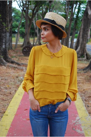 blue Mango jeans - white genevieve gozum hat - mustard Topshop blouse