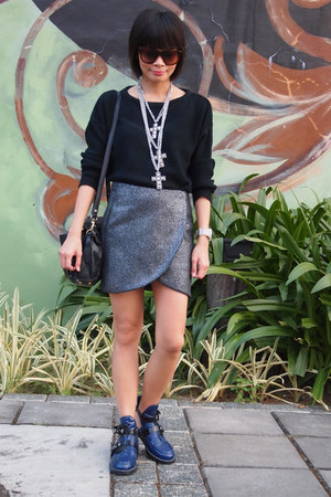 Zara skirt - romwe boots - Zara sweater - Mango necklace