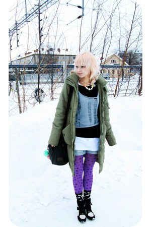 dark khaki parka H&amp;M coat - amethyst starry pattern random tights
