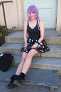 Black-tote-ysl-bag-light-purple-luma-kawaiipowerup-necklace