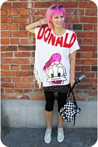 white random bag - white Vogue sunglasses - white sequined donald romwe t-shirt