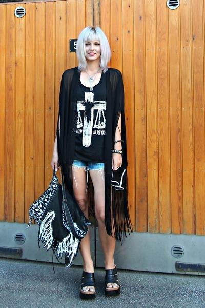 black chiffon kimono Sheinside vest - black thrifted random brand bag