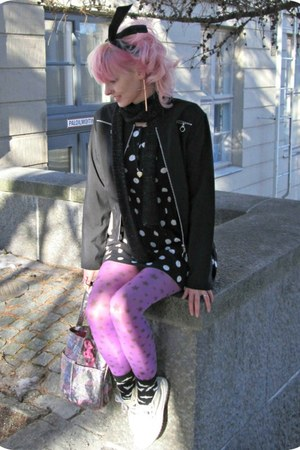 black H&M dress - black thrifted coat - amethyst random tights