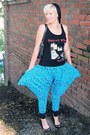 Black-h-m-hat-black-random-bag-turquoise-blue-queer-jungle-pants