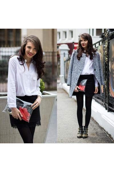black studded Chloe boots - heather gray tweed grey Sheinsidecom coat