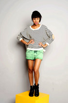 green jeans shorts