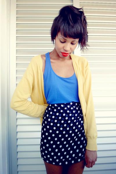 black skirt skirt - yellow long cardigan cardigan - blue blouse blouse
