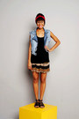 Black-t-shirt-bronze-skirt-sky-blue-jeans-vest