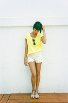 chartreuse blouse - cream lace shorts