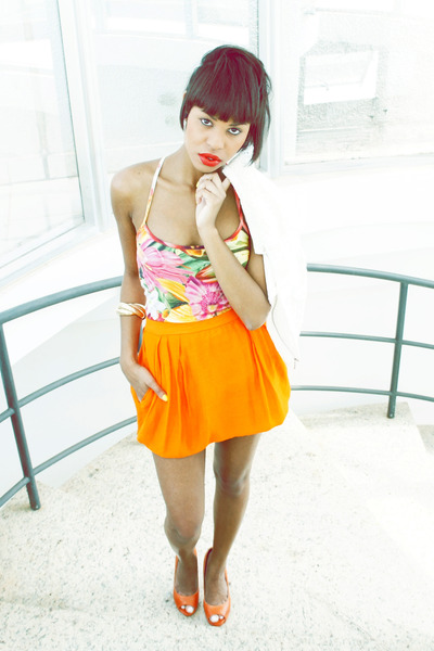 orange skirts skirt - bubble gum floral print blouse