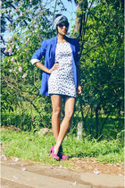 blue blue c&a blazer - off white vintage dress amelitá dress