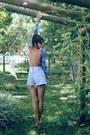Sky-blue-levis-shorts-light-purple-bodysuit