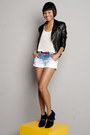 Blue-tie-dye-shorts-black-leather-jacket-jacket-off-white-blouse